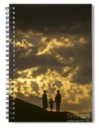 Family On Hillside Holding Hands And Facing Life Together. Spiral Notebook