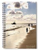 Family On Sunset Beach Spiral Notebook
