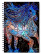 Fantasy Horse Mosaic Blue Spiral Notebook