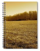Farm Field With Old Barn In Sepia Spiral Notebook