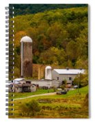 Farm View With Mountains Landscape Spiral Notebook