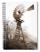 Farm Windmill In Sepia Spiral Notebook