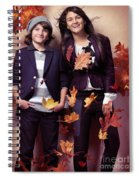 Fashionably Dressed Boy And Teenage Girl Fall Fashion Spiral Notebook