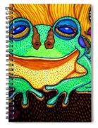 Fat Green Frog On A Sunflower Spiral Notebook