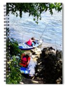 Father And Son Launching Kayaks Spiral Notebook