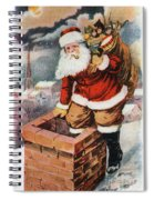 Father Christmas Popping Down The Chimney To Deliver Gifts To The Good.  Spiral Notebook