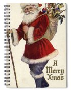 Father Christmas With A Bag Of Toys Spiral Notebook