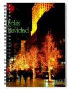 Feliz Navidad - Merry Christmas In New York - Trees And Star Holiday And Christmas Card Spiral Notebook