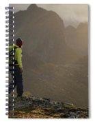 Female Hiker On Summit Of Tverrfjellet Spiral Notebook