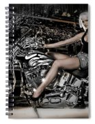 Female Model With A Motorcycle Spiral Notebook