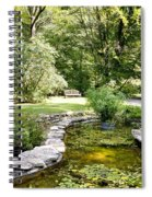 Fernwood Botanical Garden Frog Pond With Bench Niles Michigan Us Spiral Notebook