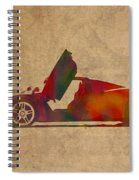 Ferrari Enzo 2004 Classic Car Watercolor On Worn Distressed Canvas Spiral Notebook