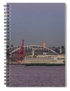 Ferry Under A Full Moon Spiral Notebook
