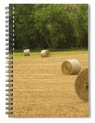Field Of Freshly Baled Round Hay Bales Spiral Notebook
