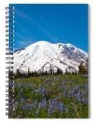 Field Of Lupines And Rainier Spiral Notebook