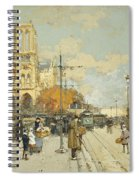 Figures On A Sunny Parisian Street Notre Dame At Left Spiral Notebook