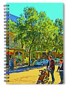 Fine Day For Baby Strollers And Bikes Art Of Montreal Street Scene Across Maitre Gourmet Cafe Spiral Notebook