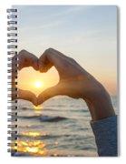 Fingers Heart Framing Ocean Sunset Spiral Notebook