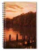 Fire On Lake Newport  Spiral Notebook