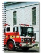 Fireman - Fire Engine In Front Of Fire Station Spiral Notebook
