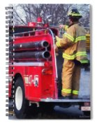 Fireman On Back Of Fire Truck Spiral Notebook