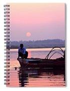 Fisherman On The Ganges River At Varanasi Spiral Notebook