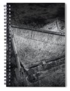 Fishing Boat On Shore In Black And White Spiral Notebook