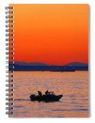Fishermen At Sunset Puget Sound Washington Spiral Notebook