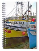 Fishing Boat Reflection In Branch-newfoundland-canada Spiral Notebook
