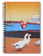 Fishing Boat Walberswick With Geese Spiral Notebook