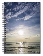 fishing boats at sunset in koh rong Cambodia Spiral Notebook