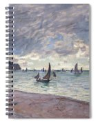 Fishing Boats In Front Of The Beach And Cliffs Of Pourville Spiral Notebook