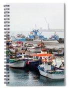 Fishing Boats Moored At A Harbor, Ponta Spiral Notebook