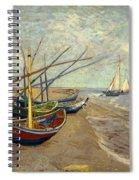 Fishing Boats On The Beach At Les Sainte-maries-de-la-mer Spiral Notebook
