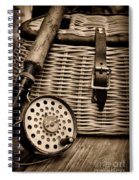 Fishing - Fly Fishing - Black And White Spiral Notebook