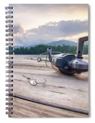 Fishing Tackle On A Wooden Float With Mountain Background In Nc Spiral Notebook
