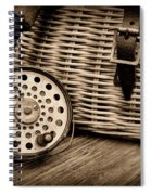 Fishing - Vintage Fly Fishing - Black And White Spiral Notebook