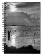 Fishing With Dad - Black And White - Merritt Island Spiral Notebook