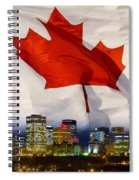 Flag Of Canada Over Albertas Capital Spiral Notebook
