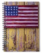 Flag On Old Yellow Door Spiral Notebook