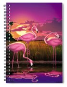Flamingoes Flamingos Tropical Sunset Landscape Florida Everglades Large Hot Pink Purple Print Spiral Notebook
