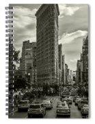 Flatiron Building - Black And White Spiral Notebook