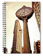 Flatiron Building And 5th Avenue Clock Spiral Notebook