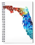 Florida - Map By Counties Sharon Cummings Art Spiral Notebook