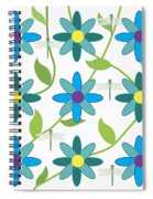 Flower And Dragonfly Design With White Background Spiral Notebook