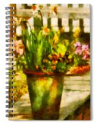 Flower - Daffodil - A Pot Of Daffodil's Spiral Notebook
