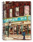 Flower Shop Rue Notre Dame Street Coin Vert Fleuriste Boutique Montreal Winter Stroll Scene Spiral Notebook