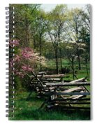 Flowering Trees In Bloom Along Fence Spiral Notebook
