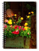 Flowers And Shovel On An Old Drill Truck Spiral Notebook