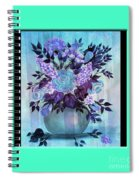 Flowers In A Vase With Blue Border Spiral Notebook